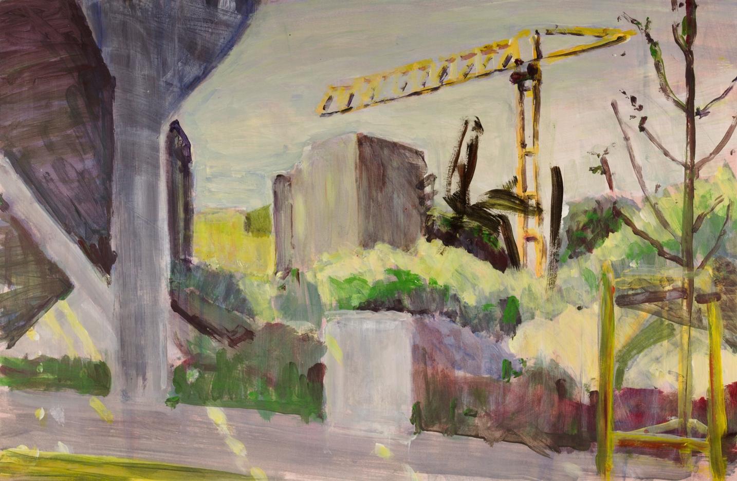 Baustelle. Acryl auf naturweißem Malgrund (66 x42)