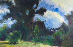 Eisenbahnbrücke. Acryl auf naturweißem Malgrund (64 x 41 qcm)