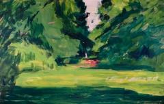 Frau im Park. Acryl auf braunem Packpapier (65 x 41 qcm)