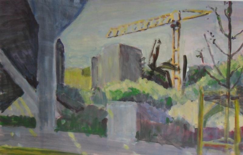 Baustelle, 66 cm x 42 cm, Acryl auf naturweißem Zeichenkarton