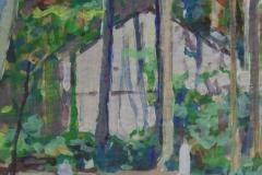 Haus hinter Birken