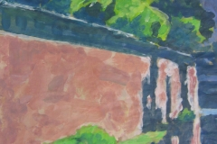 Spreeufer (?), 33 cm x 42 cm, Acryl auf braunem Packpapier