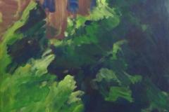 Haus hinter Büschen und Bäumen, 42 cm x 57 cm, Acryl auf braunem Packpapier