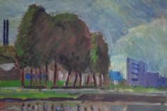Industriebrache nach Wolkenbruch, 59 cm x 43 cm, Acryl auf naturweißem Zeichenkarton