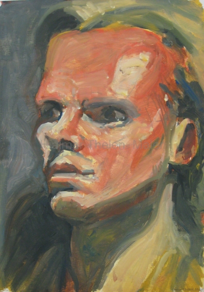 Klaus Kinski (?) - Acryl auf naturweißem Zeichenpapier - 36 cm x 50 cm