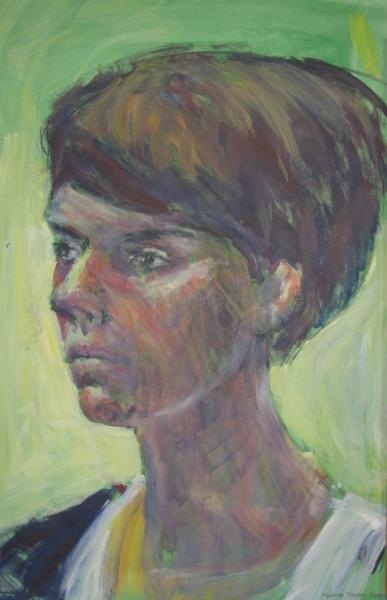 Junge Frau mit Bubikopf - Acryl auf naturweißem Zeichenkarton - 42 cm x 63 cm
