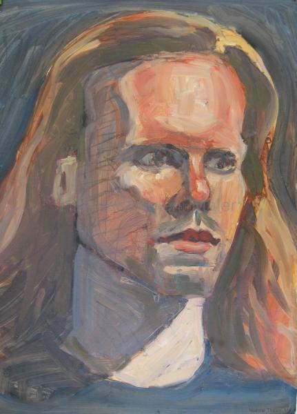 Junger Mann mit langem Haar - Acryl auf naturweißem Zeichenpapier - 35 cm x 49 cm