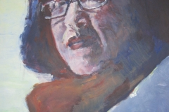 Dunkelhaarige Frau mit rotem Schal - Acryl auf naturweißem Zeichenpapier - 42 cm x 62 cm
