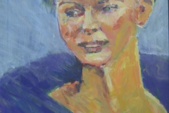 Diva in blauer Robe - Acryl auf naturweißem Zeichenkarton - 45 cm x 65 cm