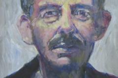 Schmaler Mann mit hoher Stirn und Schnurrbart - Acryl auf naturweißem Zeichenpapier - 41 cm x 62 cm
