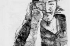 Junger Mann mit Kappe   -Kohle auf cremefarbenem Skizzenpapier- 42 cm x 58 cm