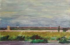Tempelhofer Feld. Acryl auf naturweißem Malgrund (65 x 41 qcm)