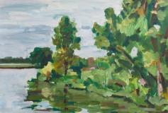Ufer. Acryl auf naturweißem Malgrund (63 x 43 qcm)