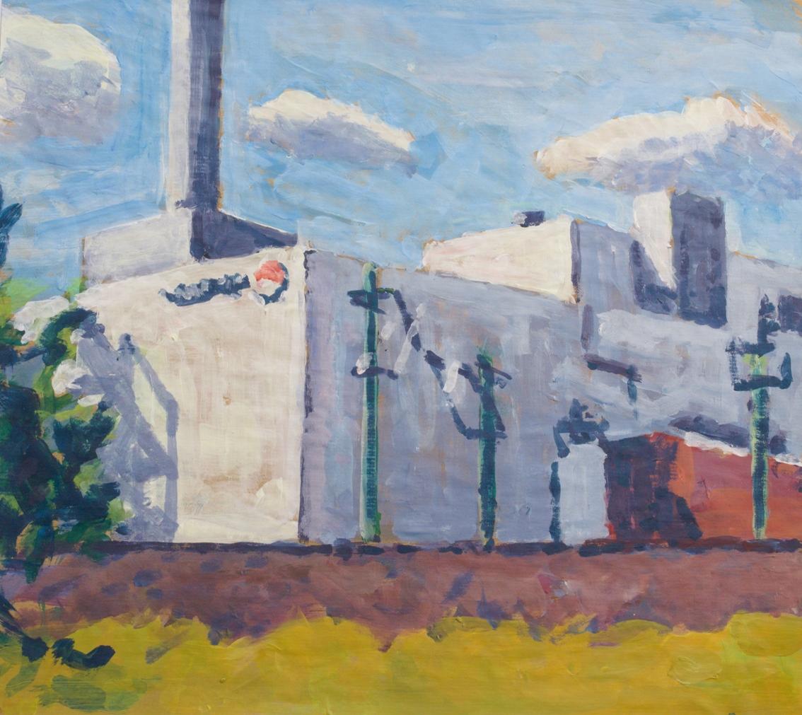 Vattenfallkraftwerk. Acryl auf braunem Packpapier (49 x 44 qcm)